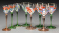 Art Glass:Other , Eight German Theresiental Enameled and Gilt Glass Cordial Liqueurand Wine Glasses, circa 1900. 5-7/8 inches high (14.9 cm) ...(Total: 8 Items)