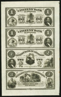 Obsoletes By State:Louisiana, New Orleans, LA- Citizens' Bank $1-$1-$2-$3 18__ Uncut Sheet. ...