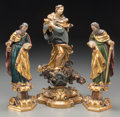 Decorative Arts, Continental, Three Continental Gilt and Polychrome Carved Wood and TerracottaFigures of Saints: Mary Immaculate, Saint Peter, Saint ...(Total: 3 Items)