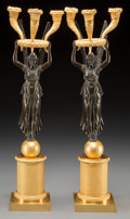 Decorative Arts, French:Other , A Fine Pair of French Empire-Style Patinated and Gilt BronzeThree-Light Candelabra, 19th century. 23-1/2 inches high (59.7 ...(Total: 2 Items)