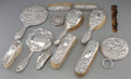 Silver Holloware, American:Vanity, Thirteen Silver-Mounted Repoussé Vanity Articles, 20th century.Marks: (various). 10 inches long (25.4 cm) (longest). ...