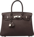 Luxury Accessories:Bags, Hermes 30cm Marron Fonce Fjord Leather Birkin Bag with PalladiumHardware. K Square, 2007. Excellent to PristineCondi...