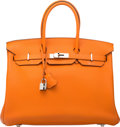Luxury Accessories:Bags, Hermes 35cm Orange H Clemence Leather Birkin Bag with PalladiumHardware. N Square, 2010. Very Good to ExcellentCondi...