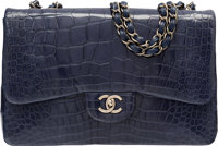 "Chanel Shiny Navy Blue Alligator Jumbo Single Flap Bag Very Good to Excellent Condition 12"" Wid"