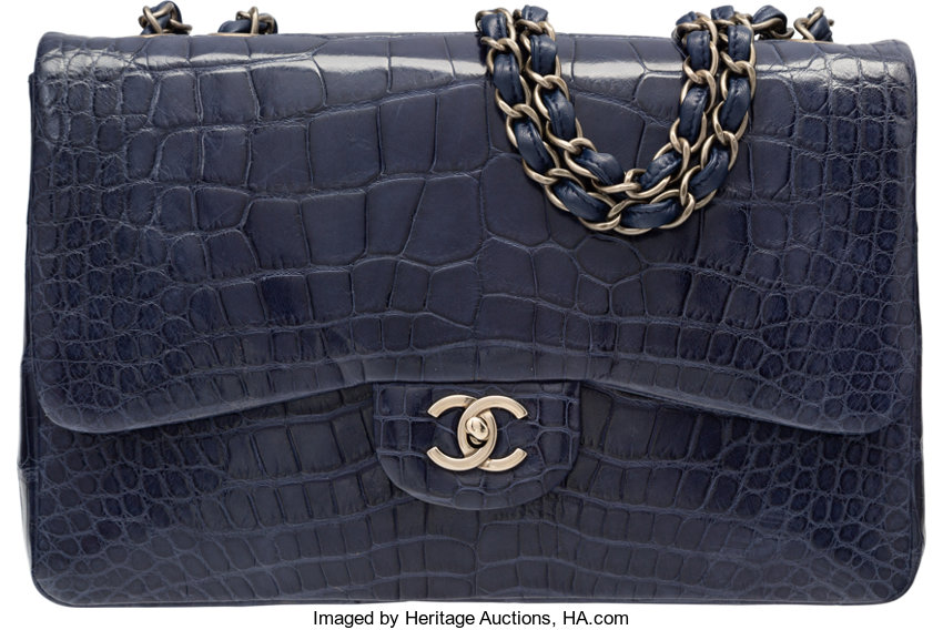 3f8ef544351fab VeryGood; Luxury Accessories:Bags, Chanel Shiny Navy Blue Alligator Jumbo  Single Flap Bag .