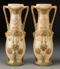 Ceramics & Porcelain, Continental:Modern  (1900 1949)  , A Pair of Large Royal Dux Porcelain Urns, Duchov, Czech Republic, circa 1900-1918. Marks: (pink triangle), ROYAL DUX BOHEM... (Total: 2 Items)