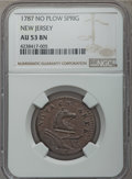 Colonials, 1787 NJERSY New Jersey Copper, No Sprig Above Plow, AU53 NGC. Maris 48-g, W-5275, R.1....