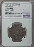 Colonials, 1787 NJERSY New Jersey Copper, No Sprig Above Plow -- Corrosion -- NGC Details. XF. Maris 64-t, W-5380, R.1....