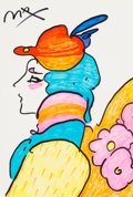 Fine Art - Work on Paper:Drawing, Peter Max (American, b. 1937). Lady with Hat and Flowers.Marker on paper. 18-1/2 x 12-1/2 inches (47.0 x 31.8 cm) (sigh...