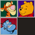 Miscellaneous Collectibles:General, Winnie the Pooh, Tigger and Aladdin Oversized Prints Lot of 3. ...