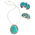 Estate Jewelry:Lots, Turquoise, Silver Jewelry. ... (Total: 3 Items)