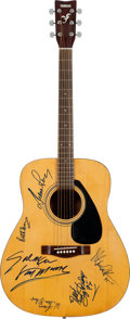Music Memorabilia:Memorabilia, Rock and Roll Hall of Fame Signed Yamaha F-310 Natural Guitar....