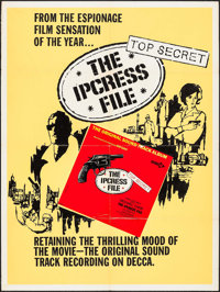 "The Ipcress File (Decca, 1965). Soundtrack Poster (30"" X 40""). Thriller"