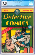Golden Age (1938-1955):Superhero, Detective Comics #35 (DC, 1940) CGC VF- 7.5 Cream to off-white pages....