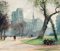 Jules René Hervé (French, 1887-1981) The Path by Notre Dame Oil on canvas 18 x 21-1/2 inches (45