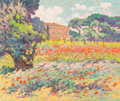 Fine Art - Painting, European:Contemporary   (1950 to present)  , Paolo Bigazzi (Italian, b. 1945). Landscape with Poppies.Oil on canvas. 20 x 24 inches (50.8 x 61.0 cm). Signed lower r...