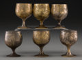 Decorative Arts, Continental:Other , A Cased Set of Six Brass and Silver-Plated Cordials, 20th century.2-1/4 inches high (5.7 cm) (each). ... (Total: 6 Items)