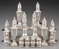 Silver Holloware, American:Other , Sixteen Weighted Silver Salt and Pepper Shakers, 20th century.Marks: (various). 4-7/8 inches high (12.4 cm) (tallest). ...(Total: 16 Items)