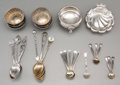 Silver Smalls, A Thirty-Three Piece Group of Silver Open Salts and Spoons, late19th-20th centuries. Marks: (various). 4-3/4 inches long (1...