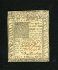 Colonial Notes:Delaware, Delaware January 1, 1776 5s Choice New. Crisp as cardboard is thisDelaware note that has tight margins but which bears stro...