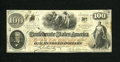 """Confederate Notes:1862 Issues, T41 $100 1862. This example has the """"CSA"""" watermark, and hasinterest stamps on back from Macon, GA in 1864 and Augusta in 1..."""