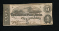 Confederate Notes:1862 Issues, T53 $5 1862. What appears to be fraying on the top and bottommargins is in actuality just a rough cut, perhaps from a sciss...