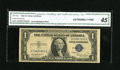 Error Notes:Skewed Reverse Printing, Fr. 1614 $1 1935E Silver Certificate. CGA Extremely Fine 45.. Thisnote exhibits quite the misalignment on the back with a n...