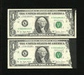 Error Notes:Ink Smears, Fr. 1910-K $1 1977A Federal Reserve Notes. Two ConsecutiveExamples. About Uncirculated.. Here are two consecutive inksmear...