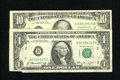 Error Notes:Error Group Lots, Pair of Gutter Fold FRN's.. Fr.1908-B $1 1974 Federal Reserve Note.Very Fine. Fr. 2029-G $10 1990 Federal Reserve Note. Fine....(Total: 2 notes)