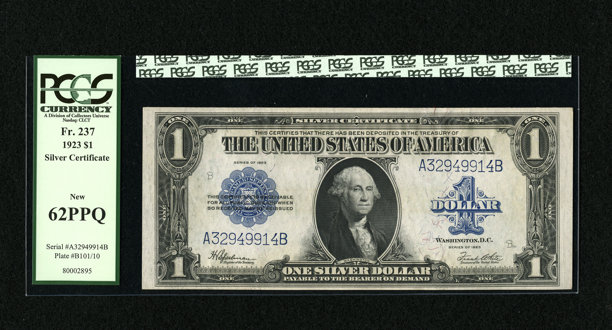 Fr. 237 $1 1923 Silver Certificate PCGS New 62 PPQ. A trace of | Lot ...