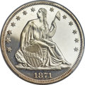 Proof Seated Half Dollars, 1871 50C PR64+ Cameo PCGS. CAC....