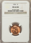Lincoln Cents: , 1954 1C MS66 Red NGC. NGC Census: (925/17). PCGS Population: (568/6). Mintage 71,873,352. ...