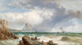 Fine Art - Painting, European:Antique  (Pre 1900), James Webb (British, 1825-1895). Off Gorey, Jersey, 1861.Oil on canvas. 24 x 42 inches (61.0 x 106.7 cm). Signed and da...