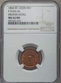 Civil War Merchants, 1864 Drovers Hotel, St. Louis, MO, MS63 Red NGC. Fuld-MO910A-5a,R.9....