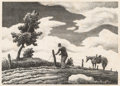 Prints, Thomas Hart Benton (American, 1889-1975). The Fence Mender, 1940. Lithograph. 9-7/8 x 13-7/8 inches (25.1 x 35.2 cm) (im...