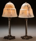 Decorative Arts, French:Lamps & Lighting, A Pair of Edgar Brandt Marble and Patinated Wrought Iron BoudoirLamps, circa 1925. Marks to bases: E BRANDT. 16 inches ...(Total: 4 Items)