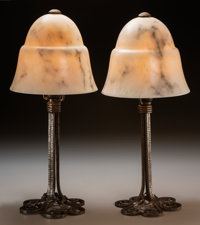 A Pair of Edgar Brandt Marble and Patinated Wrought Iron Boudoir Lamps, circa 1925 Marks to bases: E BRANDT