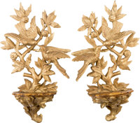 A Pair of Rococo Style Carved, Gilt and Faux Marble Painted Wood Wall Brackets 24 h x 15 w x 5-1/2 d inches (61.0