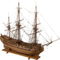 Paintings, A Large Custom-Built Wooden Model of a Warship Frigate: Boreas 1740 Bahrs-Kiel, 20th century. 46-1/2 h x 58 w x 22 d inches ...