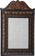 Furniture : Continental, A Flemish Marquetry and Ebonized Wood Mirror, 20th century. 51-1/4inches high x 35-3/8 inches wide (130.2 x 89.9 cm). ...