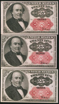 Fractional Currency:Fifth Issue, Fr. 1309 25¢ Fifth Issue Three Examples Very Fine or Better.. ...(Total: 3 notes)