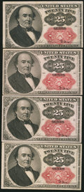 Fractional Currency:Fifth Issue, Fr. 1309 25¢ Fifth Issue Four Examples Very Fine-Extremely Fine orBetter.. ... (Total: 4 notes)
