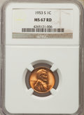 Lincoln Cents: , 1953-S 1C MS67 Red NGC. NGC Census: (363/0). PCGS Population: (168/0). CDN: $140 Whsle. Bid for problem-free NGC/PCGS MS67....