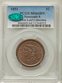 1851 1C N-8, R.3, MS64 Brown PCGS. CAC. PCGS Population: (3/1). NGC Census: (2/1). CDN: $345 Whsle. Bid for problem-free...