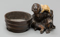 Asian:Japanese, A Japanese Bronze Okimono: Man and Turtle, 20th century. Marks:(three-character mark to underside). 2-1/8 inches high x 4 i...