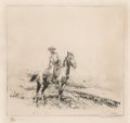 Prints, Edward Borein (American, 1873-1945). Trail Boss. Etching and drypoint. 7-7/8 x 8-1/2 inches (20.0 x 21.6 cm) (image). Si...
