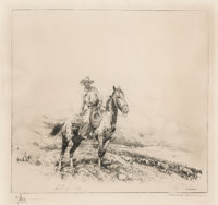 Edward Borein (American, 1873-1945) Trail Boss Etching and drypoint 7-7/8 x 8-1/2 inches (20.0 x