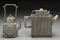 Asian:Chinese, Two Chinese Pewter and Hardstone Teapots, 20th century. 6-5/8inches (16.8 cm) (taller). PROPERTY FROM THE ESTATE OF ADELI...(Total: 2 Items)