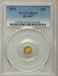 California Fractional Gold , 1875 25C Indian Round 25 Cents, BG-847, R.4, MS64 PCGS. PCGSPopulation: (29/2). NGC Census: (9/4). ...