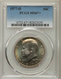 Kennedy Half Dollars, 1977-D 50C MS67+ PCGS. PCGS Population: (46/1 and 2/0+). NGCCensus: (14/0 and 0/0+). Mintage 31,449,106. ...